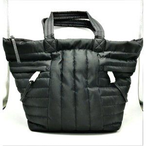 NINE WEST Zip Up Tote in Channel Quilted Black Nyl